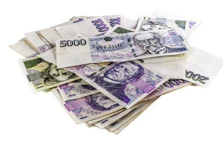 czech money on white background Stok Fotoğraf