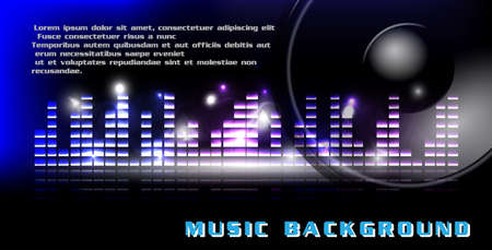 Music backgroun with blue and violet equalizer with speaker  Vector