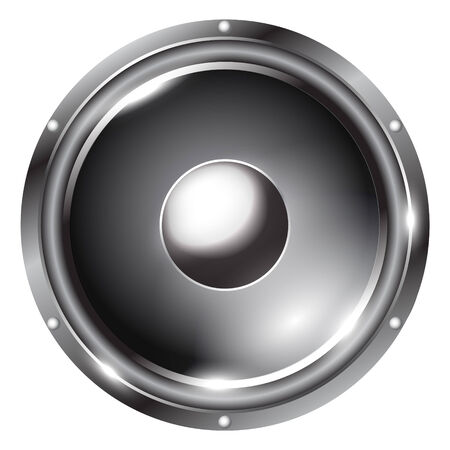 Black audio speaker with screw on white background Illustration