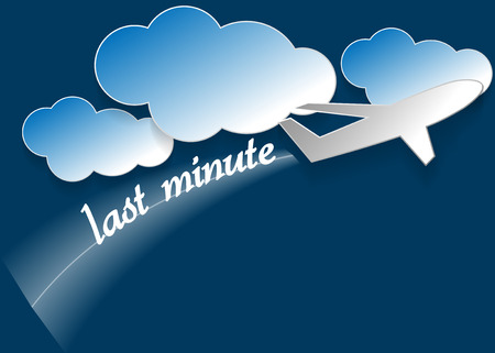 Clouds and airplane and text last minute illustration Vector