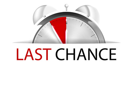 last chance: Alarm clock five to twelve with sign last chance