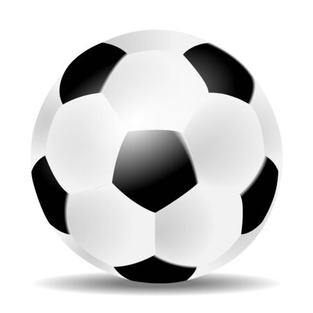 Soccer or football ball with shadow on white background Vector