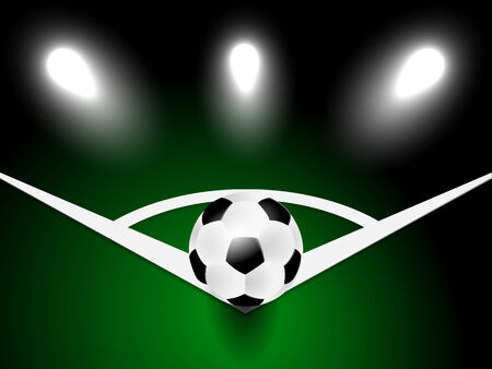 Soccer or football ball in corner on green background Vector