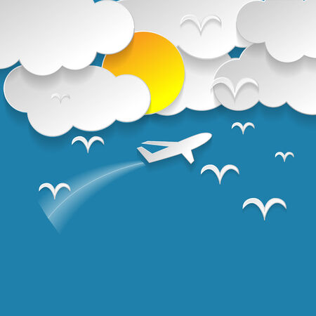Blue sky with clouds and sun and birds and airplane fly illustration vector