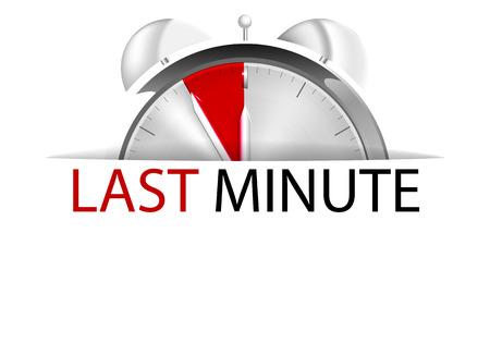 Alarm clock five to twelve with sign last minute