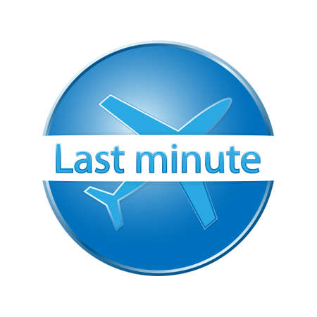 last day: Blue airplane button or icon with sign last minute Illustration