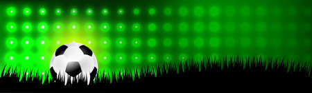 Soccer or football ball in grass on green background Vector