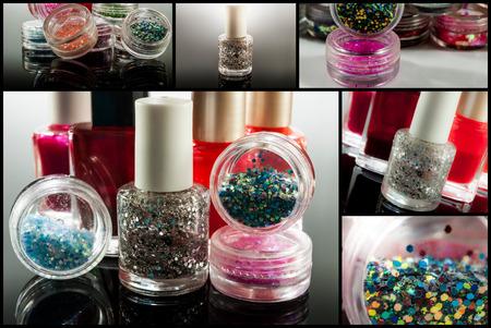 Collection (set) of nail polish on black background photo