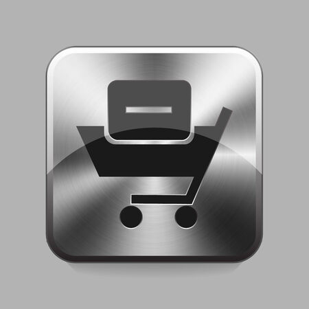 chrome cart: Bussines cart chrome or metal  button or icon vector illustration
