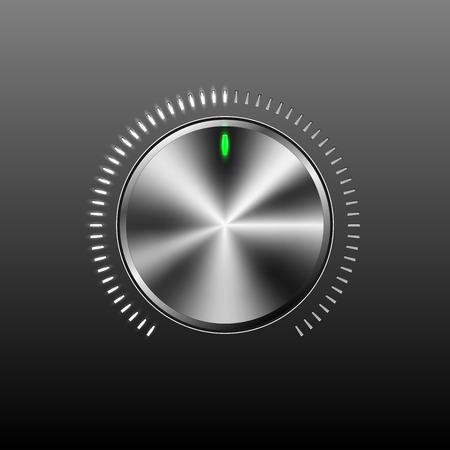 metalic design: Chrome volume button on gray background vector illustration