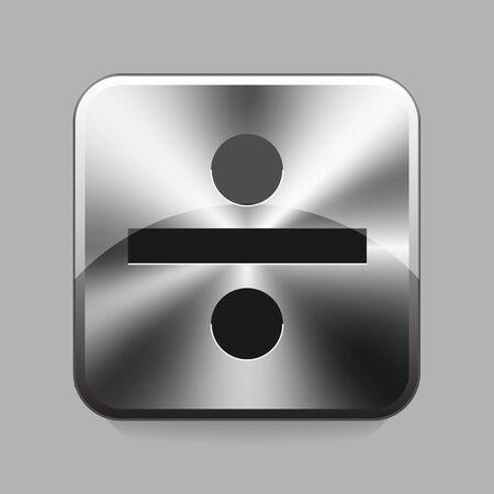divides: S�mbolo Divide en met�lico o bot�n cromo ilustraci�n