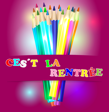 light classroom: Back to school in french and color pencils vector illustration Illustration