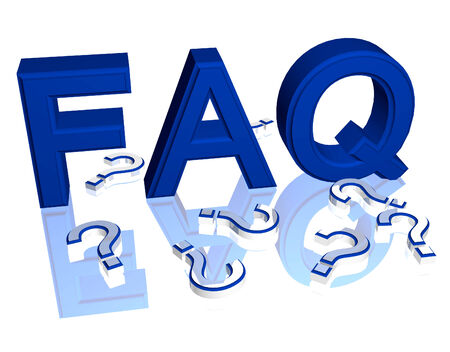 Blue FAQ Frequently Asked Questions three dimensional illustration Stok Fotoğraf