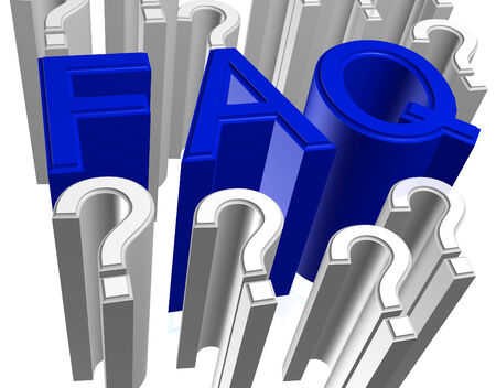 frequently: Blue FAQ Frequently Asked Questions three dimensional illustration Stock Photo