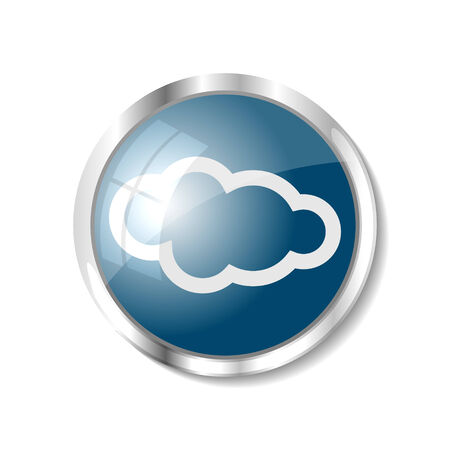 brushed aluminum: Cloud computing blue  button or icon vector illustration Illustration