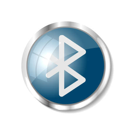 bluetooth: Bluetooth blue  button or icon vector illustration