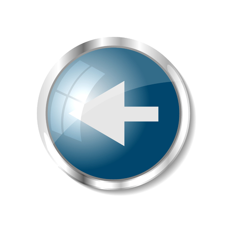 brushed aluminum: Arrow left blue  button or icon vector illustration Illustration