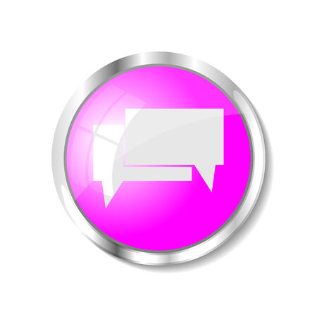 brushed aluminum: Chat  pink  button or icon vector illustration