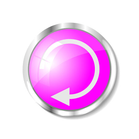 brushed aluminum: Replay pink  button or icon vector illustration