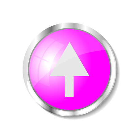 brushed aluminum: Arrow up  pink  button or icon vector illustration