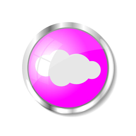 brushed aluminum: Cloud computing  pink  button or icon vector illustration Illustration