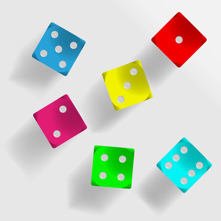 odds: Six colored dice with shadow on grey background illustration