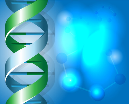researchs: Green and blue DNA spirals with shadow illustration Illustration