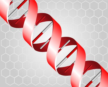 Red DNA spirals on grey background illustration
