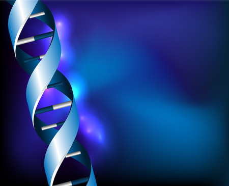 researchs: Blue DNA spirals on abstract background illustration Illustration