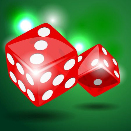 odds: Two red dice with shadow on green background illustration vector Illustration