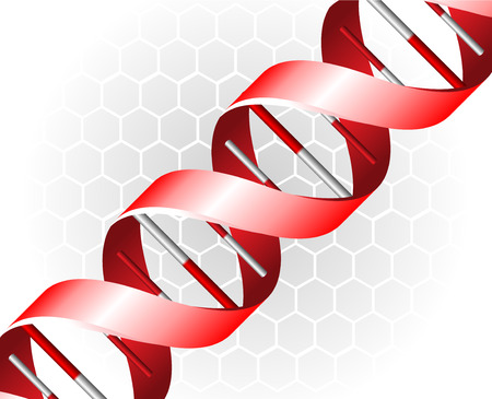 researchs: Red DNA spirals on grey background illustration