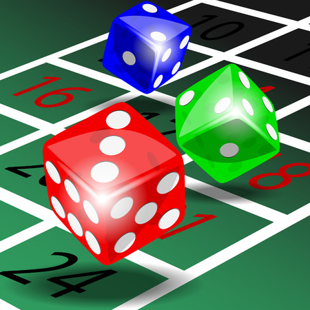 roulette table: Three colored dice with shadow on green roulette table illustration