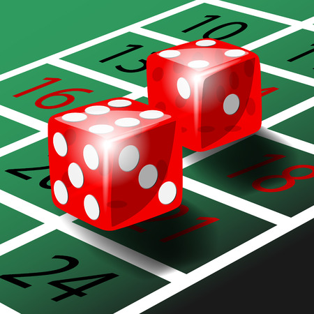craps: Two red dice with shadow on green roulette table illustration vector