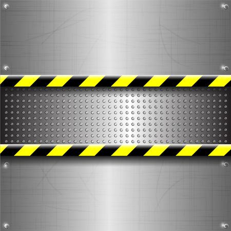 black metallic background: Metallic or chrome background or texture with yellow black strip vector illustration