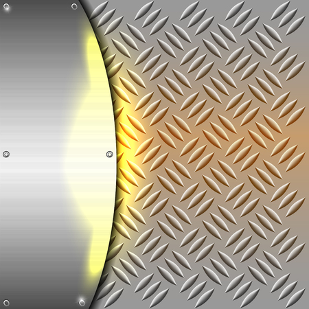 ironworks: Metallic or chrome background or texture with yellow light vector illustration