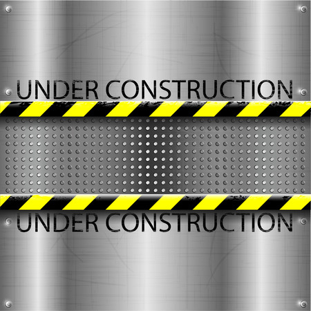 chrome background: Under construction metallic or chrome background or texture with yellow black strip   vector illustration Illustration