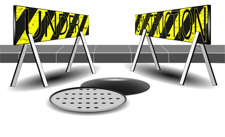 sewer: Under construction and open sewer and orange white cone vector
