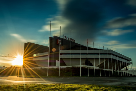 world championships: OSTRAVA, CZECH REPUBLIC - MARCH 31: Sunset and cloud on march 31,2015 in Ostrava, Czech republic Sunset and cloud near CEZ Arena stadium in Ostrava will host matches Ice Hockey World Championships on May 2015