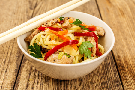 cooked instant noodle: Chinese traditional food noodles with chicken meat and vegetables Stock Photo