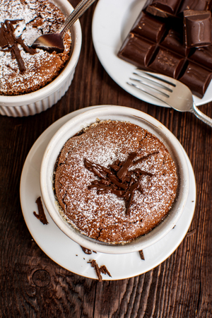 French traditional chocolate souffle in white plate