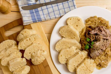 canard: Czech traditional cuisine dumpling, cabbage and pork meat Stock Photo
