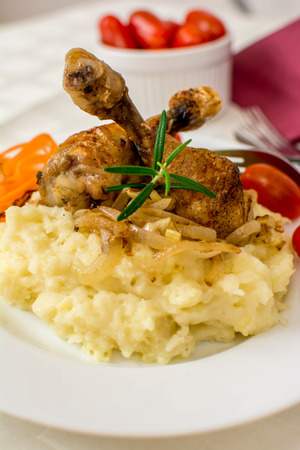 mash: Grilled chicken thigh or leg with potato mash
