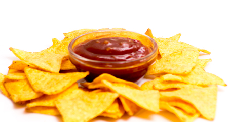 nacho chip: Traditional mexican nachos with tomato sauce on white