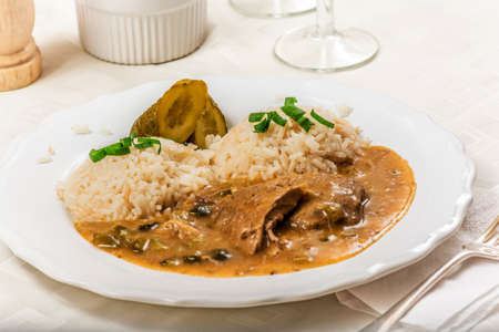 znojmo: Czech traditional food Znojmos sauce with gherkin and pork meat and rice on white