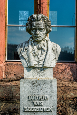beethoven: Sculpture or bust of Ludvig van Beethoven in Czech castle Hradec nad Moravici
