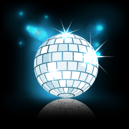 discoball: Blue disco ball with sparkles on dark background illustration Illustration