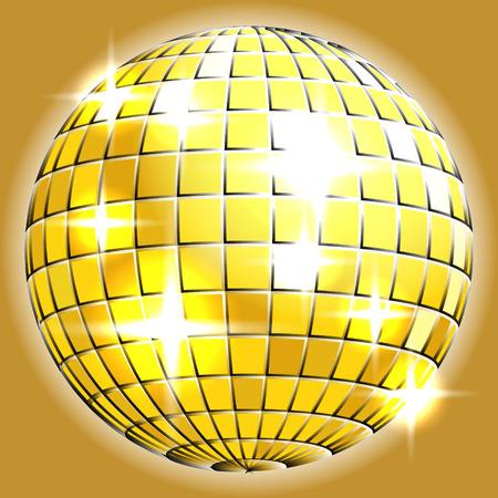 chrome ball: Gold chrome or metallic disco ball with sparkles on grey background illustration