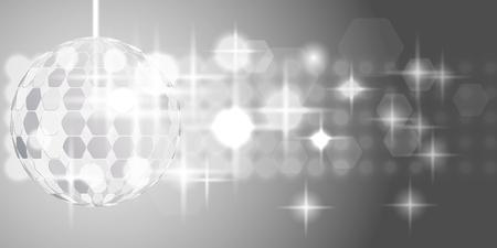 chrome ball: Chrome or metallic disco ball with sparkles on gray background illustration