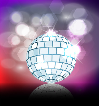 discoball: Blue disco ball with sparkles on color background illustration Illustration