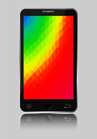 color spectrum: Mobile phone with color spectrum polygonal mosaic background illustration